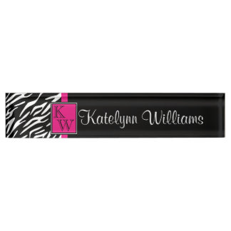 Zebra Print Pink Accent Monogram Desk Name Plate