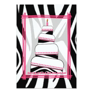 Zebra Print & Pink Birthday Party Invite