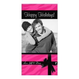 Zebra print pink christmas photocard photo greeting card