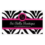 Zebra Print & Pink Lace Monogram Business Cards