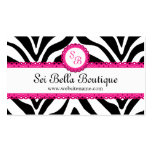 Zebra Print & Pink Lace Monogram Business Cards