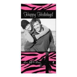 Zebra print pink photocard customized photo card