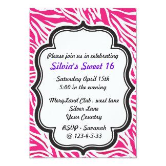 """Zebra Print pink sweet sixteen invitation 5"""" X 7"""" Invitation Card"""
