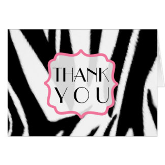 Zebra Print & Pink Thank You Card