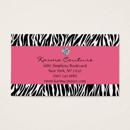 zebra print pink w/ heart shaped diamond business card