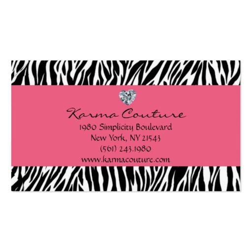 zebra print pink w/ heart shaped diamond pack of standard business cards