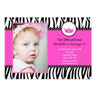 Zebra Print Princess Photo BIrthday Invitations