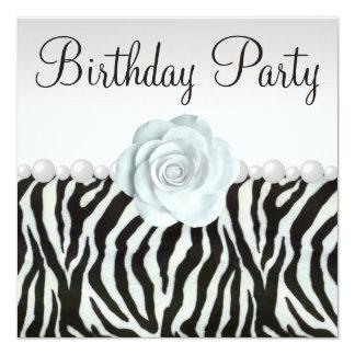 Zebra Print & Printed Pearls & Rose Birthday Party Card