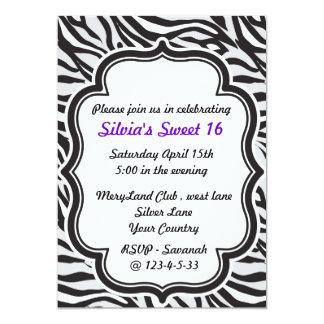 """Zebra Print purple sweet sixteen invitation 5"""" X 7"""" Invitation Card"""
