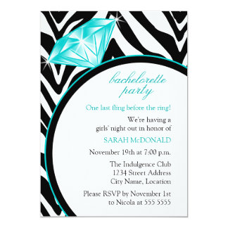 Zebra Print & Ring  Bachelorette Party Invitation