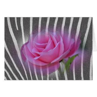 Zebra Print Rose Greeting Card