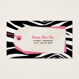Zebra Print & Shopping Tag Retail Business Card