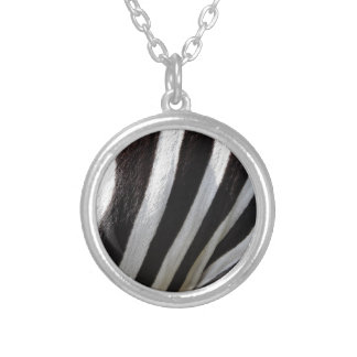 Zebra Print Stripe Pattern Silver Plated Necklace