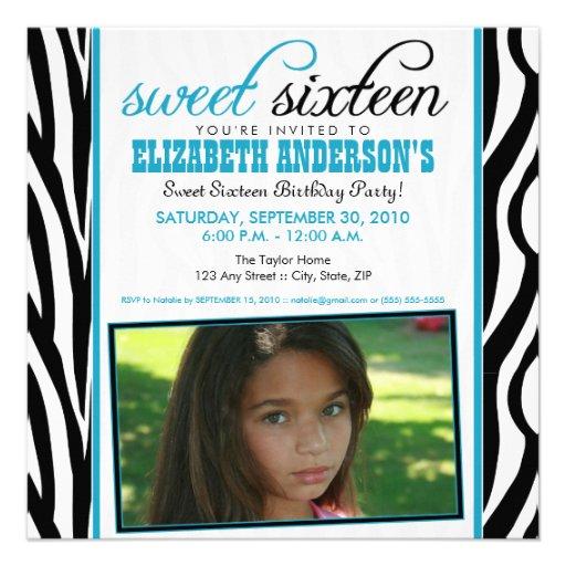 Zebra Print Sweet 16 Party Invitation (aqua blue)