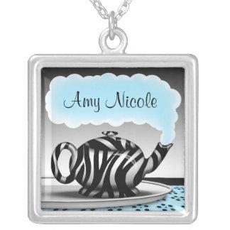 Zebra Print Teapot - Aqua Black Necklace