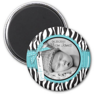 Zebra Print Turquoise Accent Birth Announcement 6 Cm Round Magnet