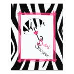 Zebra Print Umbrella Baby Shower Invitation 11 Cm X 14 Cm Invitation Card