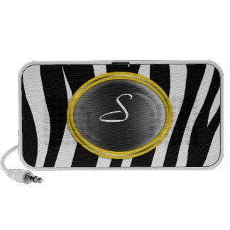 Zebra Print Yellow Glass Monogram Doodle Speaker