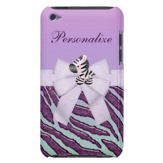 Zebra, Purple Animal Stripes & Printed Bow iPod Touch Cover