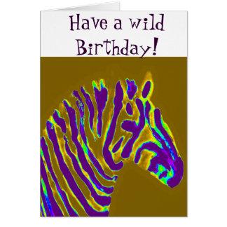 Zebra Purple Glow Greeting Card