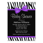 Zebra Purple Printed Bow Baby Shower 13 Cm X 18 Cm Invitation Card