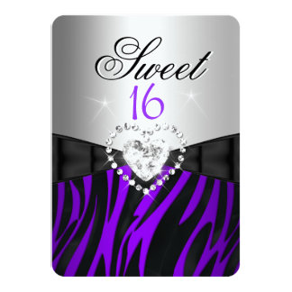 Zebra Purple Silver Sweet 16 Sixteen Birthday Personalized Announcements