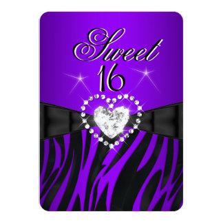 Zebra Purple Sweet 16 Sixteen Birthday Party 2 4.5x6.25 Paper Invitation Card