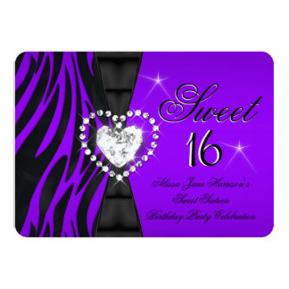 "Zebra Purple Sweet 16 Sixteen Birthday Party 4.5"" X 6.25"" Invitation Card"