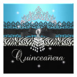 Zebra Quinceanera 15th Birthday Party Blue Black