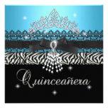 Zebra Quinceanera 15th Birthday Party Blue Black Announcement