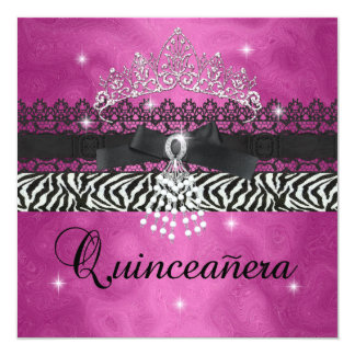 Zebra Quinceanera 15th Birthday Party Pink Black Card