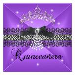Zebra Quinceanera 15th Birthday Party Purple Black Personalized Invite