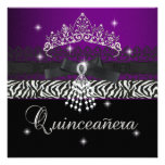 Zebra Quinceanera 15th Birthday Party Purple Black Personalized Announcement