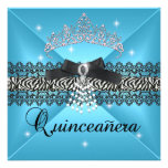Zebra Quinceanera 15th Birthday Party Teal Blue Personalized Invite