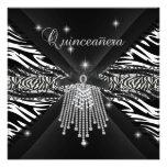Zebra Quinceanera 15th White Black Zebra Lace 3 Custom Announcements