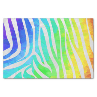 Zebra Rainbow and White Print Tissue Paper
