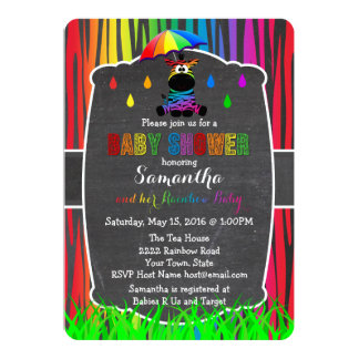 Zebra Rainbow Baby Shower Invitation