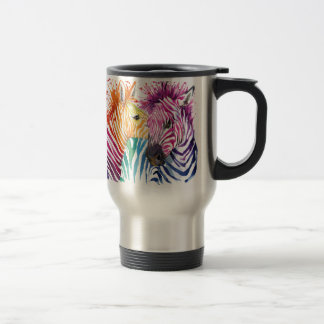 zebra rainbow LOVE Travel Mug