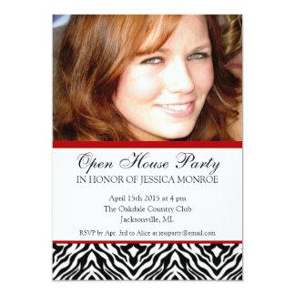 Zebra Red Accent Photo Open House Graduation In 5x7 Paper Invitation Card