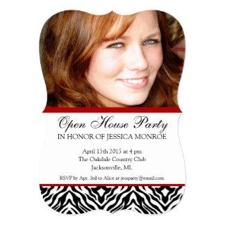 Zebra Red Photo Open House Graduation Invitations