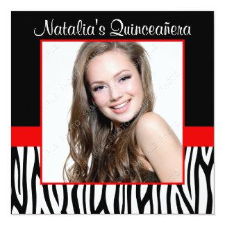"""Zebra Red Photo Quinceanera Invitations 5.25"""" Square Invitation Card"""