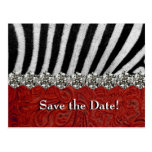 Zebra Rhinestone Red Leather Save the Date Post Cards
