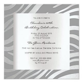 Zebra Safari Animal Skin Black Silver Birthday 13 Cm X 13 Cm Square Invitation Card