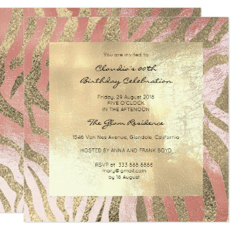 Zebra Safari Animal Skin Pink Rose Blush Gold Card