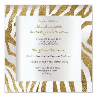 Zebra Safari Animal Skin Silver Gold Birthday 13 Cm X 13 Cm Square Invitation Card