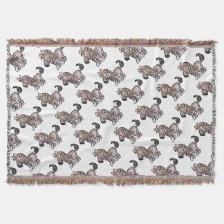 Zebra Safari Animals Cartoon Character Throw Blanket