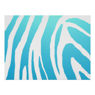 Zebra Shade Sky Blue /White Poster