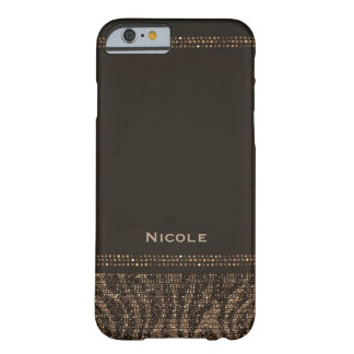 Zebra Sparkle Brown Gold Glam Chic Elegant Bling Barely There iPhone 6 Case