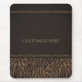 Zebra Sparkle Brown Gold Glam Chic Elegant Bling Mouse Pad