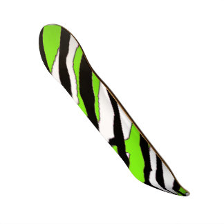 Zebra Stripe and Lime Green Skateboard